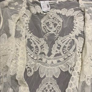 Maurices Tops - Maurice's White/Cream Lace Kimono Size 3